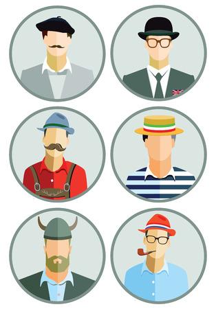 european: European Men Illustration