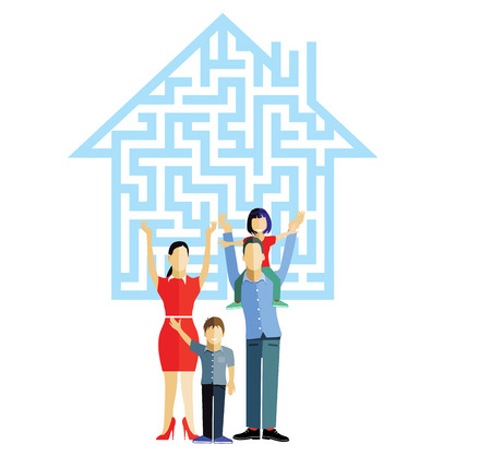 family house: Family House with family Illustration