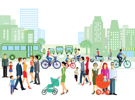 urbane: City with individuals and families