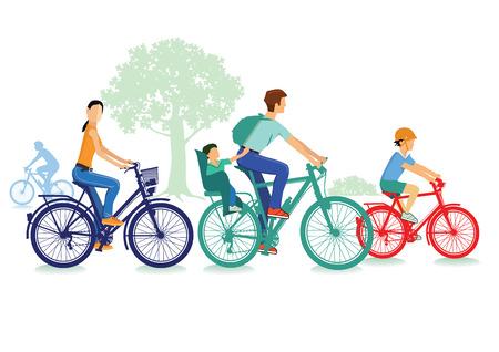 Familie maakt een biketrip Stock Illustratie