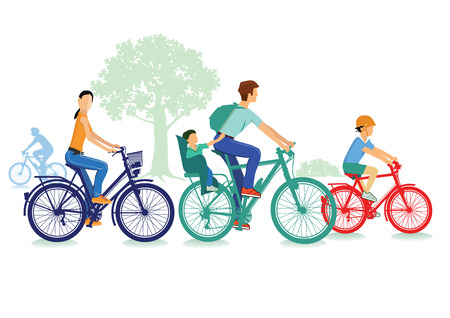 Family makes a Biketrip Illustration