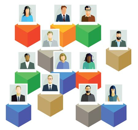 teamwork together: Employees Information Illustration