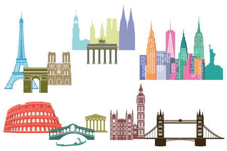 cologne: monument and skylines of cities around the world