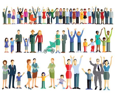 Menigte mensen en groepen