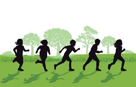 corriendo los niños  Ilustración de vector