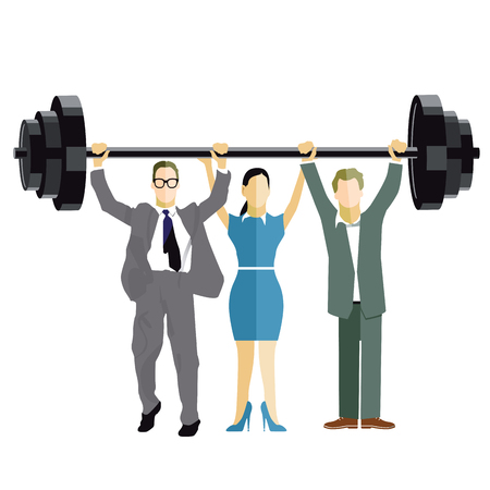 perseverance: Business Weightlifting Illustration