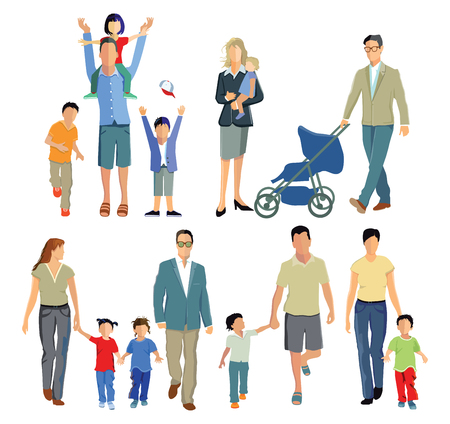 son of man: Families with children Illustration