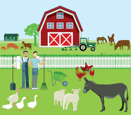 herd: Farmer and Agriculture with animals Illustration