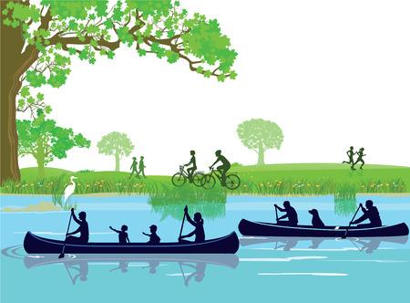 at leisure: Canoeing Leisure Illustration