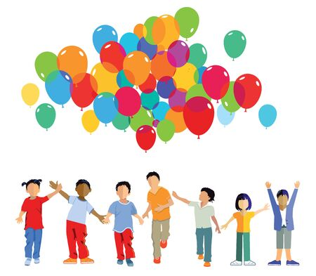 rejoicing: funny kids group with balloons Illustration
