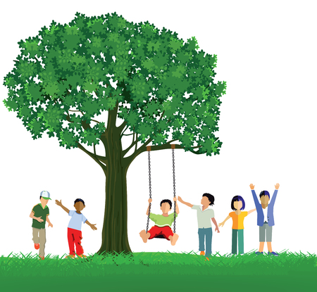 innocent: Children swinging on a tree Illustration