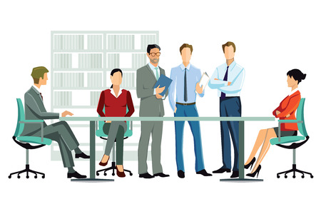 grupos de personas: discutir los empleados de oficina contados