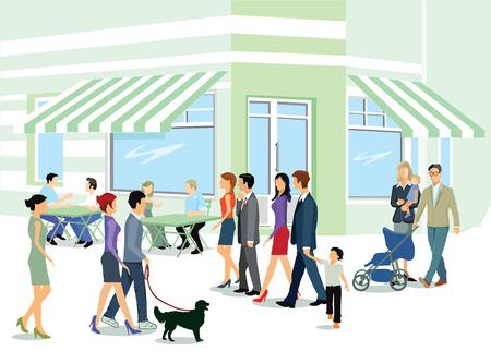 sociable: City dwellers while walking Illustration
