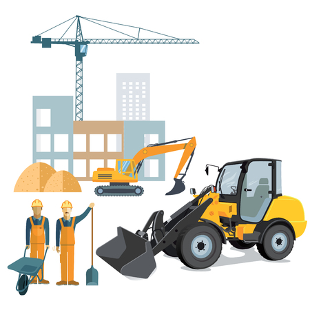 wheel barrow: Construction site with crane and wheel loader