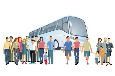 away travel: Bus travel Illustration