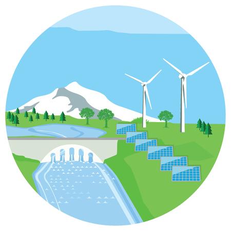 Solar plant, hydro power plant, wind energy Illustration