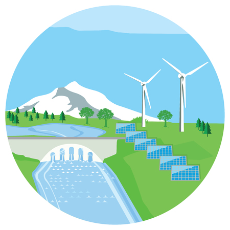 Solar plant, hydro power plant, wind energy Stock Illustratie