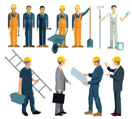 corporate buildings: Construction planning with client and architect Illustration