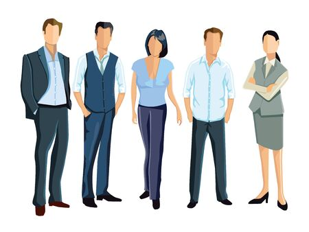 successful: five persons and employees stand together Illustration