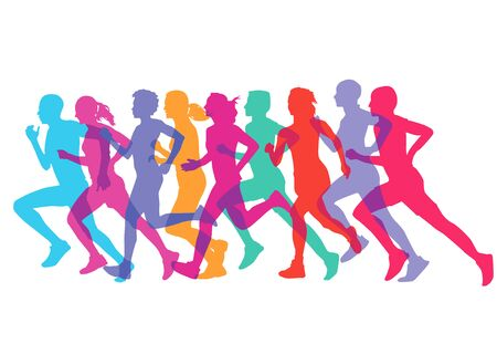 athletes: a group of runners Illustration