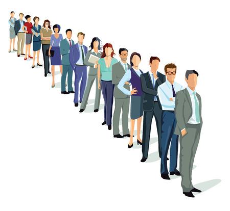 file d attente: personnes dans une rangée Illustration