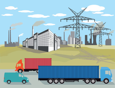 dirty: Factories and truck traffic Illustration