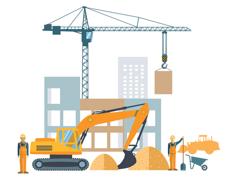 road works: building project, construction site