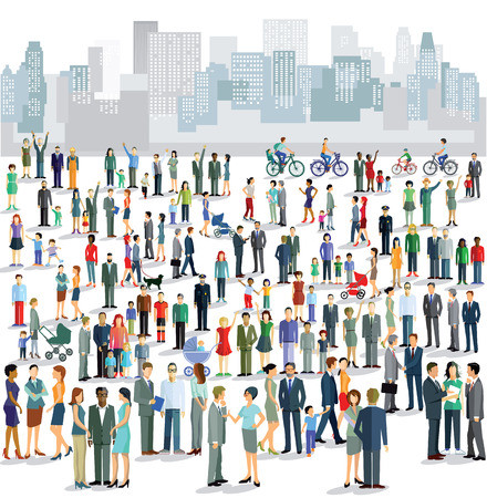 live work city: Groups of townspeople Illustration