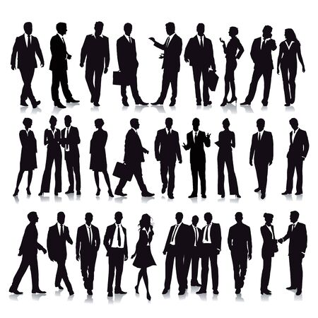 woman business suit: 30 Standing Business People Illustration