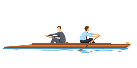 and opposite: Business people rowing in the opposite direction