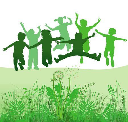 clavados: Los niños que juegan en un prado