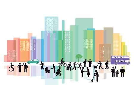 Modern cityscape and People group