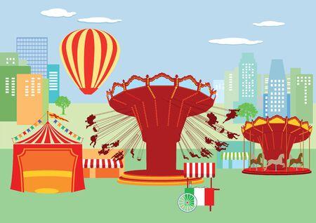 fairground: Fairground, funfair Illustration