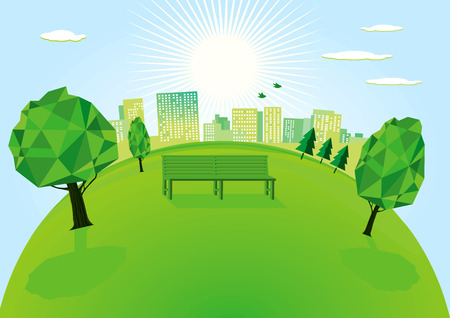 garden scenery: Park in the city Illustration