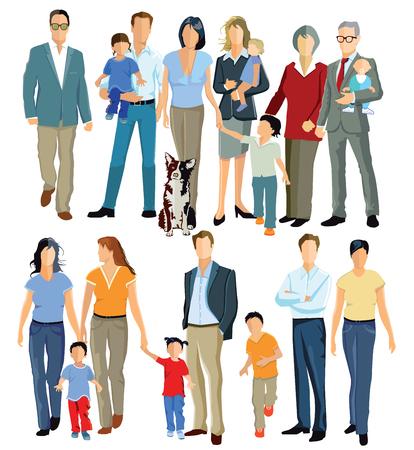 mujer hijos: Familia y generaciones Vectores