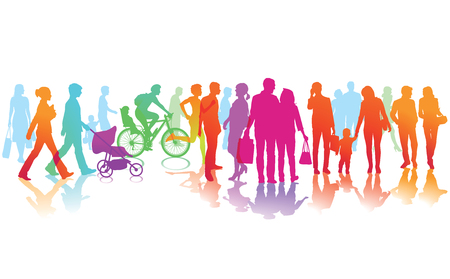 farbige Straßenszene mit vielen Menschen