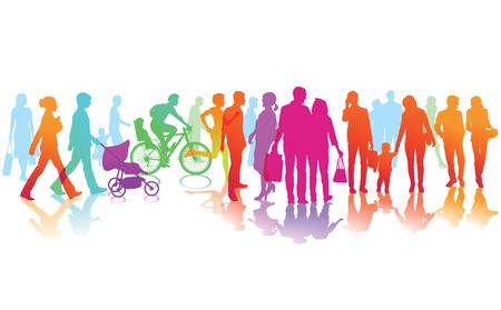 personas en la calle: escena de la calle de color con muchas personas