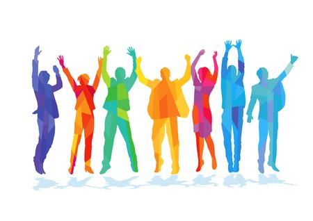 顏色快樂興高采烈的人 向量圖像