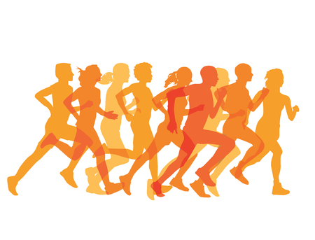 competitive sport: a group of runners Illustration