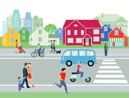 belonging: Street in the city with people Illustration