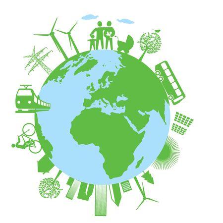 naturally: Ecology green world Illustration