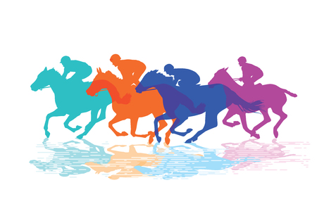 競馬、騎手と競走馬  イラスト・ベクター素材
