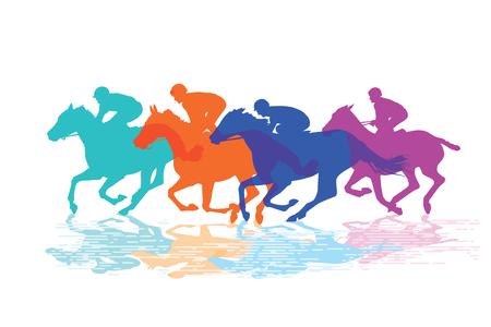 quickness: Horse racing, racehorses with jockeys