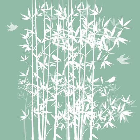 chickadee: Bamboo with birds