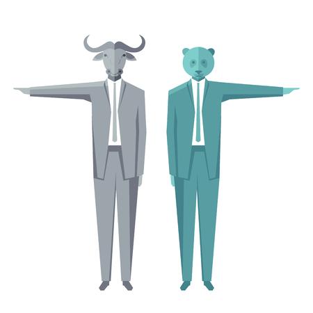 entity: Bear and bull businessmen