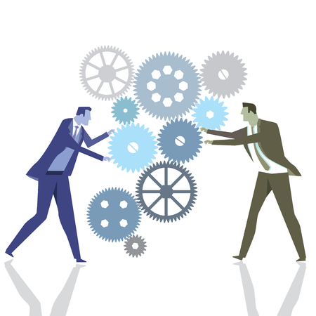 distribute: Businessmen with gears in teamwork Illustration