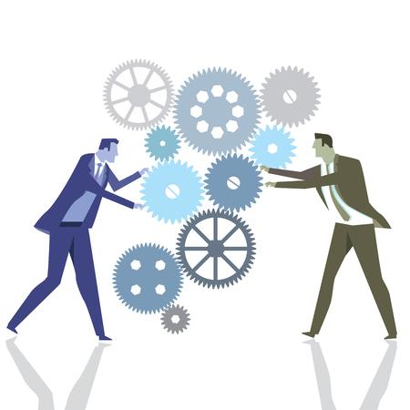 Businessmen with gears in teamwork Illustration