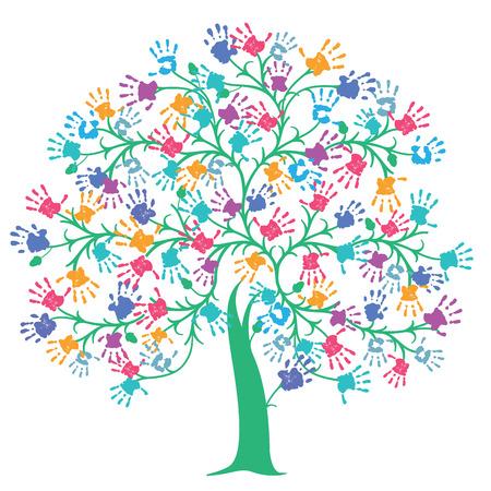Árbol con la huella de la mano de colores Ilustración de vector