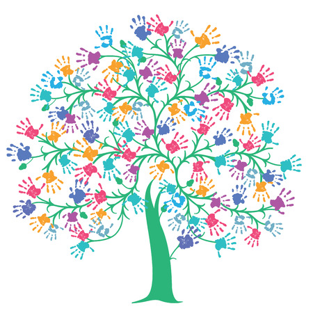 Tree with colorful handprint Stock Illustratie