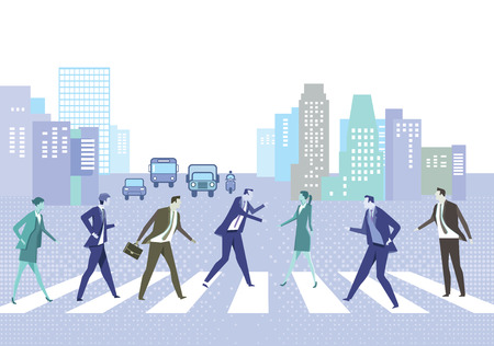 belonging: Street with crosswalks and people Illustration